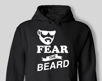 Fear The Beard Funny Beards Moustache Facial Hair Hipster Mens Hoodie Gift Dad Father