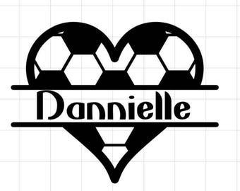Sport heart monogram decal
