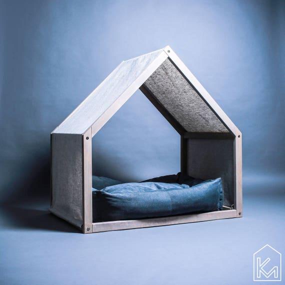 Chien Moderne De La Maison Avec Une Housse En Lin Lit Pour Etsy