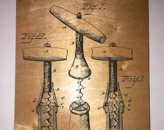 "ENGRAVED PATENT ART - Corkscrew (7"" x 11"")"