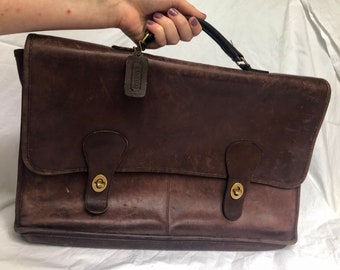 1075ca4ea36a Coach Leather Briefcase Vintage 70s Brown Laptop Bag
