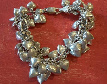 Sterling tons of hearts bracelet