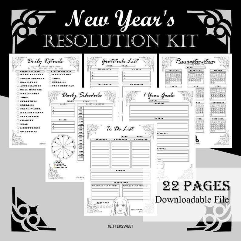 New Year's Resolution Planner Kit Goal setting To Do image 0