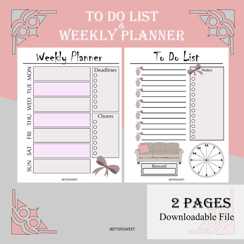 Printable To Do List and Weekly Planner in Girly Pink and Purple Theme for  Back to School (US Letter and A5 Size)