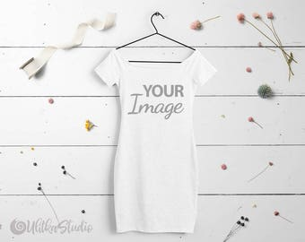 Download Free White dress Mockup, Your design here, Girls Stock Photo, Surface for printing Mockup Instant Download, Additional photo for instagram PSD Template