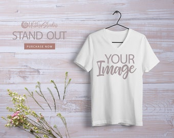 Download Free White T-shirt Mockup, White T-shirt with short sleeves, Surface for printing Mockup Instant Download, Additional photo for instagram PSD Template