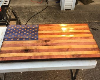 Hand Made Wooden American Flag