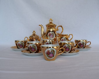 Vintage Gold Tea Set with Couple Courting