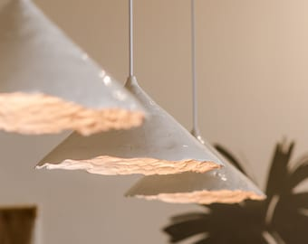 Large handmade ceramic pendant lamp