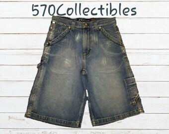 b715cd270af Vintage 1990s JNCO Premium Denim Cooper Carpenter Baggy Jean Shorts Size 32  Skater Skateboarder BMX