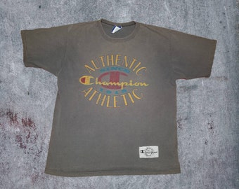 cb16991422b6 Vintage Champion Authenic Athletic Wear Logo Crewneck Tshirt Size Medium  Made in USA