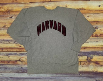 58ca752a9 Vintage Champion Harvard Crimson Reverse Weave Sweatshirt Spellout Graphic Crewneck  Size Large Made in the USA