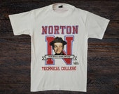 Vintage 1980s Anvil Honeymooners Tshirt Ed Norton Technical College Graphic Single Stitch Size Medium Made in USA Television Show TV Comedy