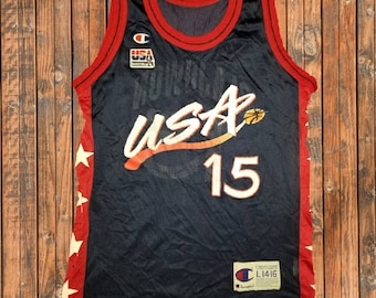 2405a1288706 Vintage 1990s Champion USA Olympic Basketball Team Hakeem Olajuwon Youth  Jersey Size Large 14-16 Made in USA