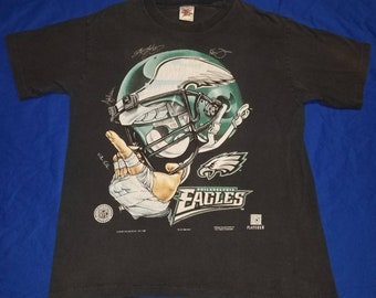 80b2ac108 Vintage 1996 All American Wear Philadelphia Eagles Crewneck Graphic Cotton  Tshirt Facsimile Signatures Size Large Made in USA
