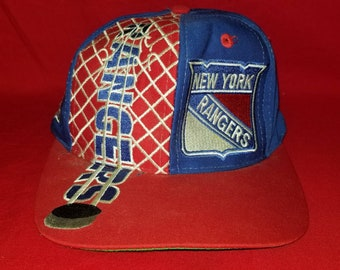 100% authentic 4565f 0ac88 Vintage Logo 7 New York Rangers Hockey NHL Broken Net Graphic Adjustable  Snapback Hat Cap