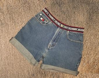 74f5304e Vintage Tommy Hilfiger Jeans Cutoff Shorts Girls Juniors Size 12 Spellout  Waist Band Flag Logo