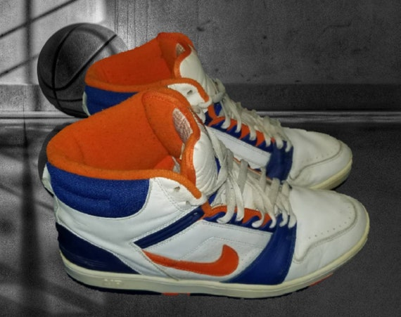 Vintage Nike Air Force 2 Sneakers Mens Size 13 New York Knicks Colorway White Orange Blue