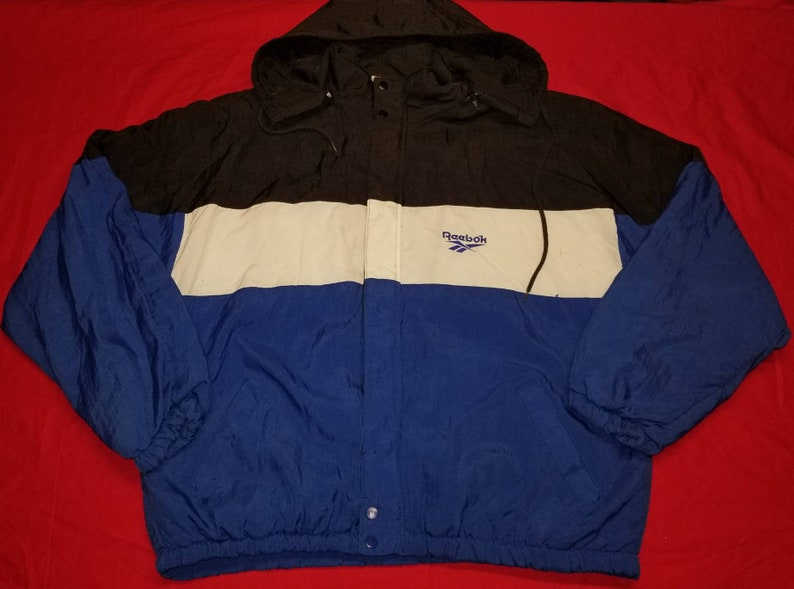 1781fac062f95 Vintage Reebok Colorblock Spellout Hooded Full Zip Jacket Coat Size Large L