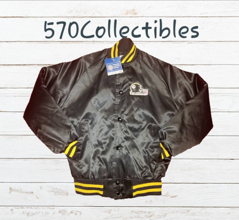 meet 57aef 433b1 Vintage Chalkline NFL Pittsburgh Steelers Helmet Logo Patch Kids Satin  Button Front Jacket Original Tag Youth Size Large 14-16 Made the USA