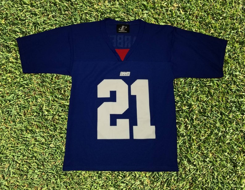 82aa68ad Vintage Logo Athletic New York Giants Tiki Barber Kids Football NFL Jersey  Size Youth Medium Made in USA