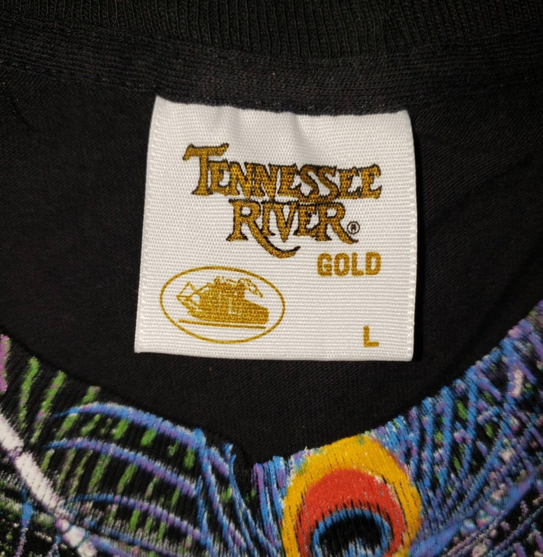 Vintage 1990s Tennessee River Gold Peacock Graphic Tshirt Single Stitch Bird Print Crewneck Size Large Made in USA