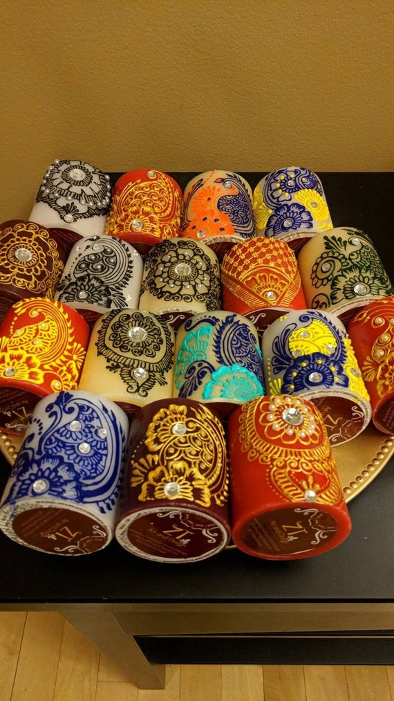 Decorated Henna Mendhi Design Candles Colorful Designs Great Etsy