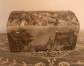 Jewelry Box Anton Pieck Decoupage Treasure Box 3D - The Coach on Bridge Highly Collectible and at Rock Bottom Price