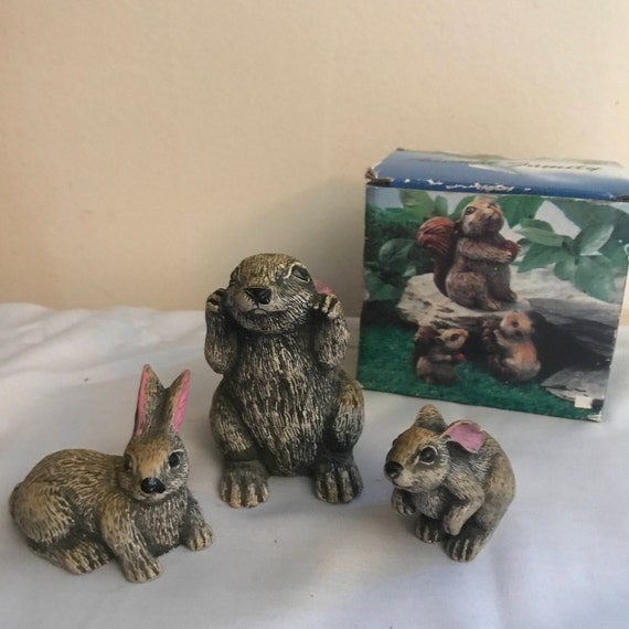 Animal Family Rabbit Figurines 3 Made Of Heavy Resin Etsy