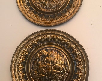 Repousse Brass Wall Hanging by Lombard -- Made in England -- Colonial Scene (Sold 1 at a time)