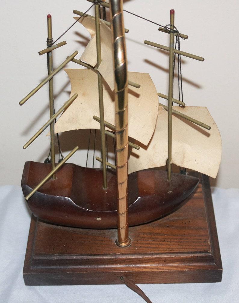 Enjoyable Table Lamp Nautical Wooden Sailing Ship Lamp Home Remodeling Inspirations Gresiscottssportslandcom