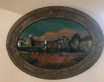 Reverse Painting on Convex Bubble Glass -- Palace of Versailles France - Where the World's Peace Treaty Was Signed - Antique
