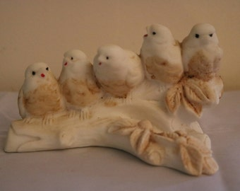 Italy -- Porcelain Bisque Birds on Branch - Turtle Doves?