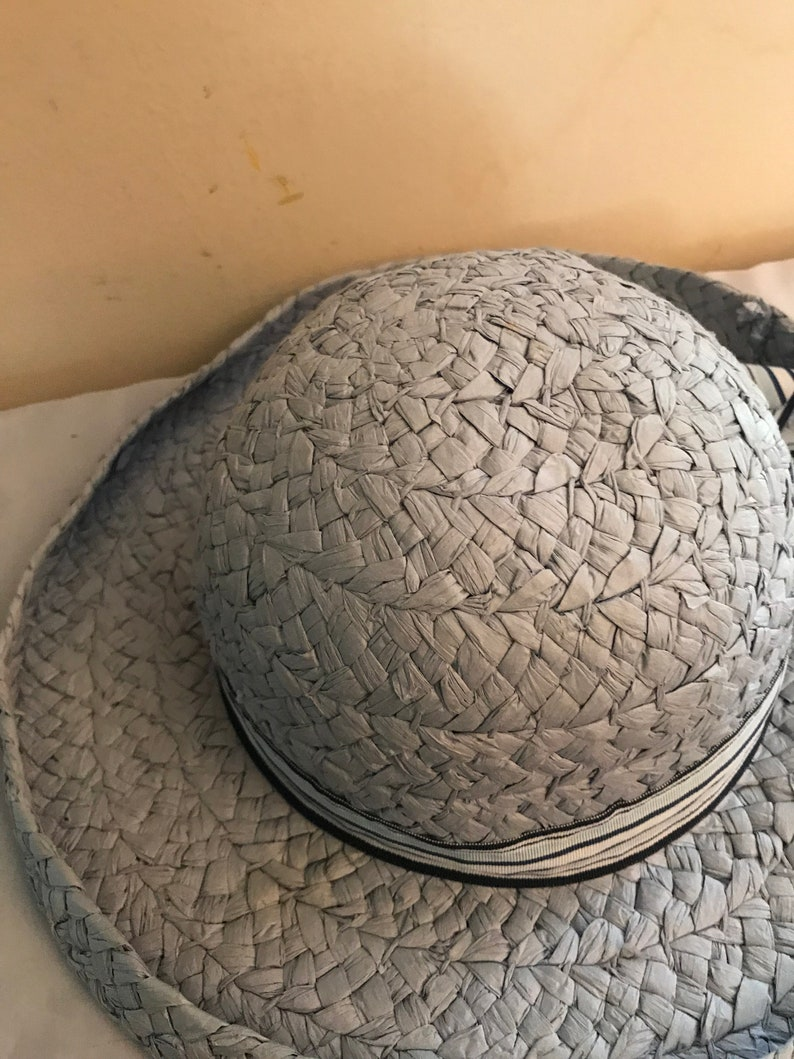 Made of 100 Percent Natural Woven Paper Fiber Faded Glory Vintage Lady Hat Easter Blue Spring