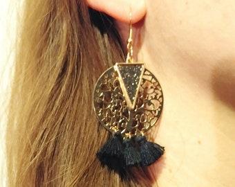 Golden earrings - black tassels - Bohemian - handmade - DIY - gift idea for woman