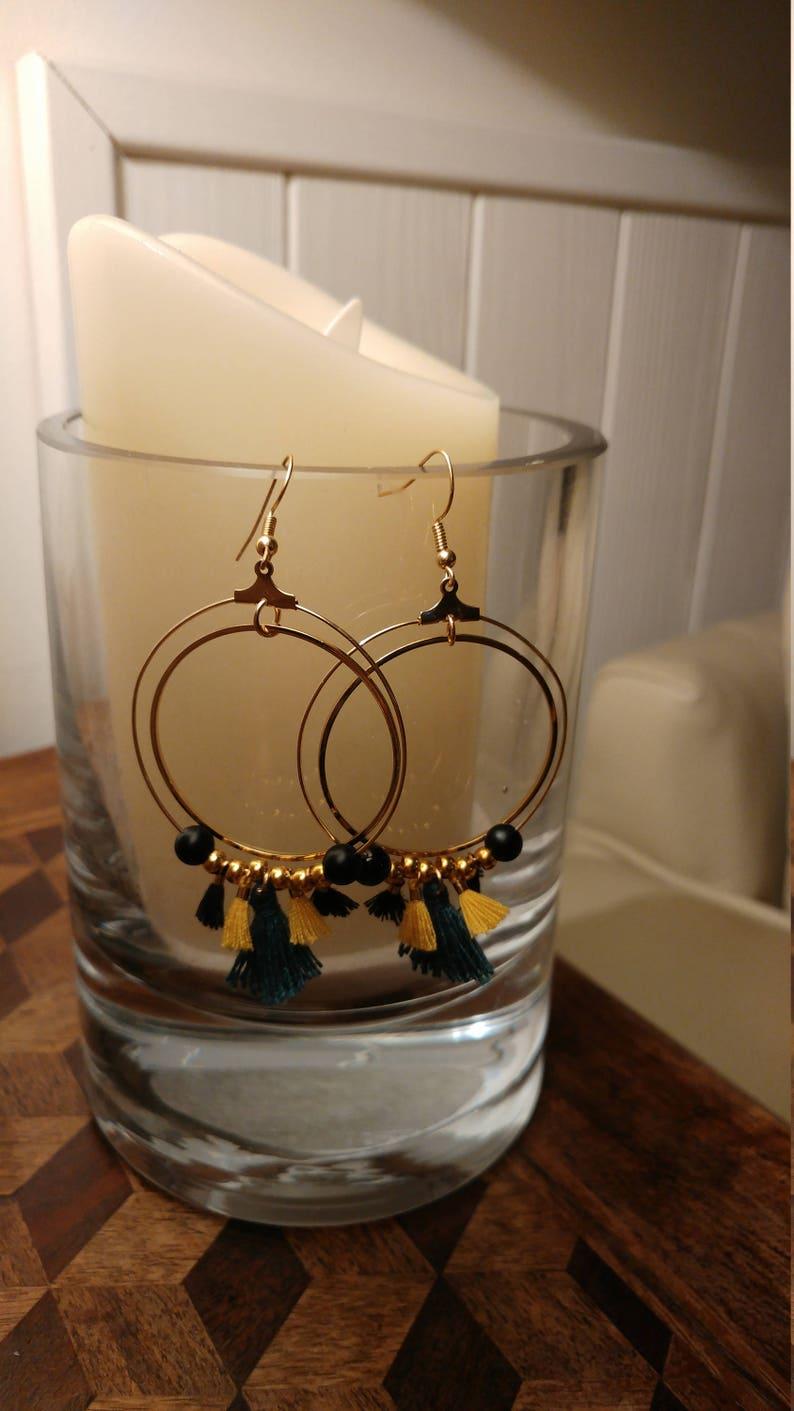 Hoop earrings Jao women DIY gift idea hand made jewelry tassels