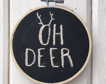Oh Deer Embroidered Wall Hanging