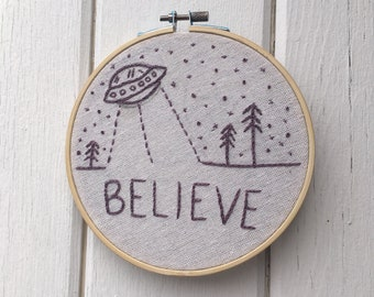Space Believe Embroidered Wall Hanging