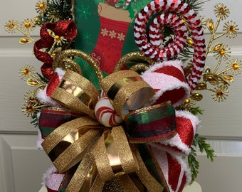 Christmas Stocking and Peppermint Christmas Centerpiece