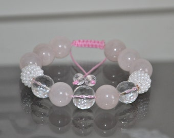 Rose Quartz shamballa bracelet Clear quartz Gemstone armband Yoga bracelet Spiritual  bracelet Love bracelet Womens jewellery Pink bracelet e4609bba6a05a