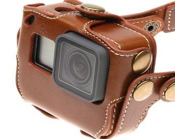 GoPro Hero 5 (Hero 6) Black, brown and dark brown 95% handmade leather case | FREE SHIPPING WORLDWIDE