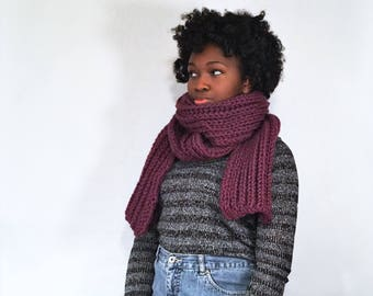 Extra Long Blanket Scarf, Chunky Knit Scarf, Oversized Scarf, Winter Accessories, Knit Accessories, handmade knit scarf, purple knit scarf