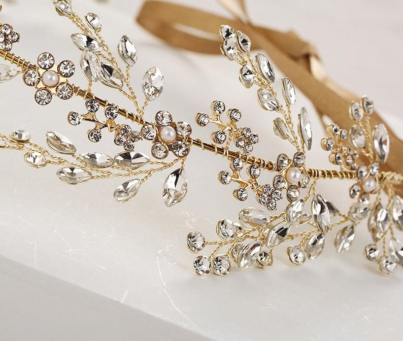 Flower Girls Tiara Gold or Silver Crystal Tiara Bridal Crown Bride Accesories Prom Tiaras Bride Tiara Wedding Hair Accessories