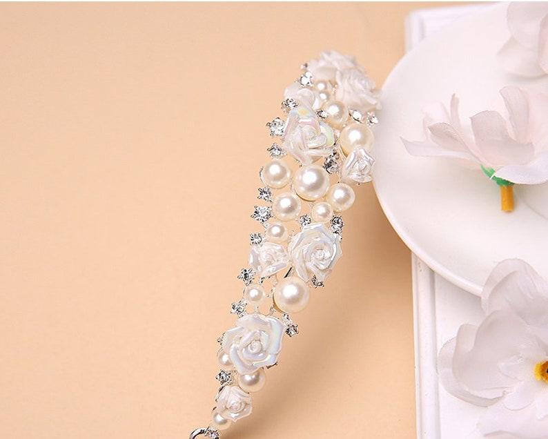 Wedding Hair Accessories -Flower Girls Tiara Child Size Silver Crystal Tiara with Pearl detail Flower Girl Hairband Silver Child Tiara