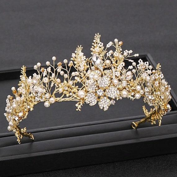 Bride Tiara Wedding Tiara Tiara for Wedding Ecquisite Gold Crystal Tiara Prom tiara Crystal Crown,Tiara for Bride Gold Tiara