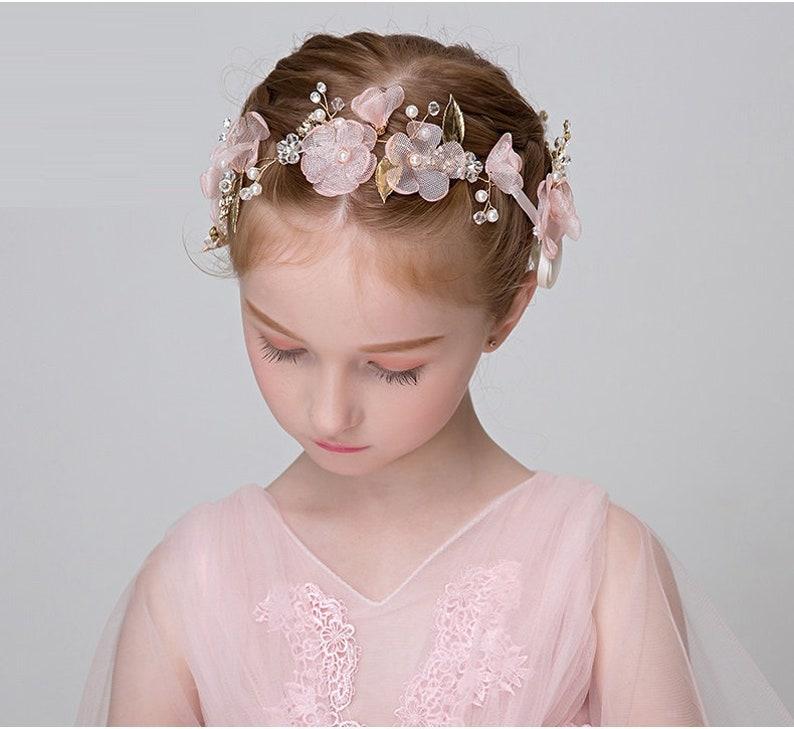 Pink Flower Girl Tiara Flower Girls Hair Pieces Flower Girl Hair Accessories Pink Flower Hair Piece Pink Tiara Wedding Hair Accessory
