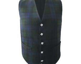 New Scottish Highland Tartan Waistcoat Bias Cut 5 Buttons Kilt Vest Wedding Vest