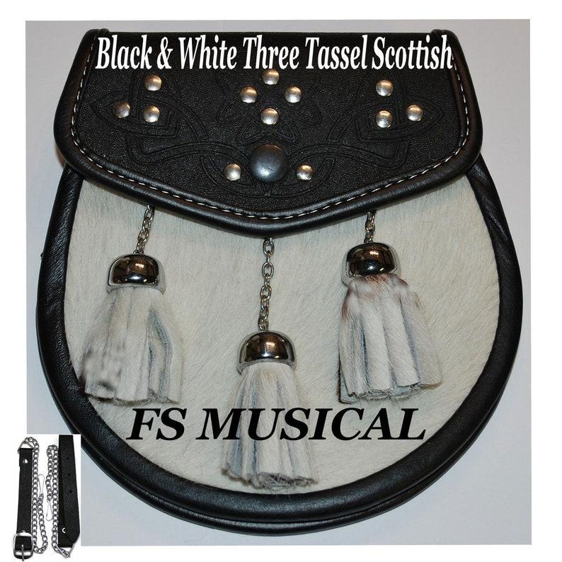 3 Tassels Scottish Celtic Embossed Kilt Sporran with Leather /& Metal Chain set