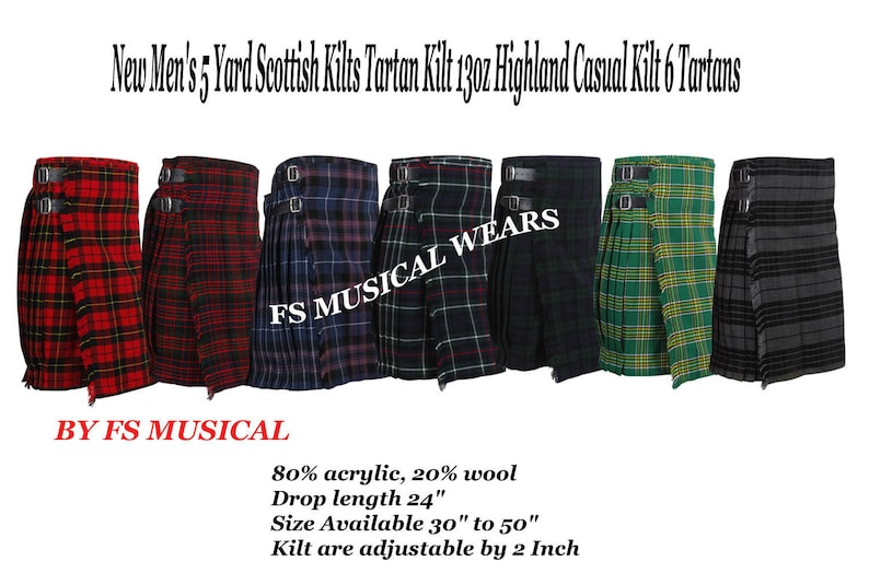 3f7c4e1cfc8a New Men s 5 Yard Scottish Kilts Tartan Kilt 13oz Highland