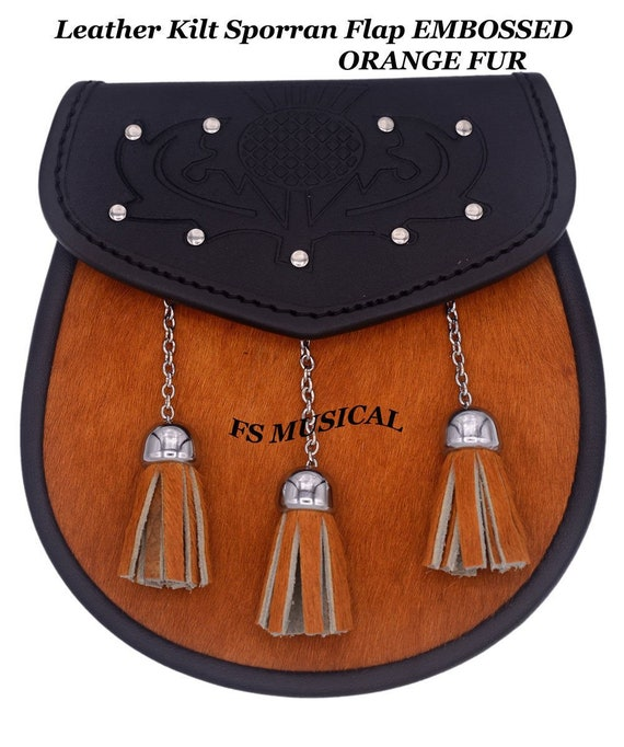Leather Kilt Sporran Flap EMBOSSED ORANGE FUR 3 Tassels on Front with Free Chain